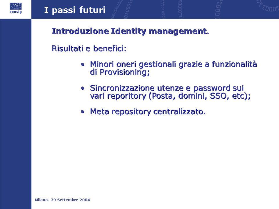 I passi futuri Milano, 29 Settembre 2004 Introduzione Identity management.