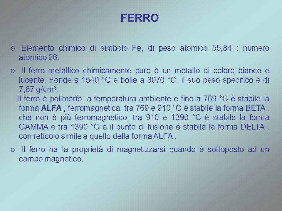 o o Elemento chimico di simbolo Fe, di peso atomico 55,84 ; numero atomico 26. o o Il ferro metallico chimicamente puro è un metallo di colore bianco