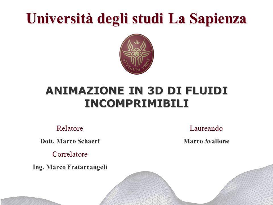 Dipartimento di Informatica e Sistemistica -Università di Roma La Sapienza - Marco Avallone Sommario Obiettivi Applicazioni pratiche Teoria Il sistema di particelle Conclusioni