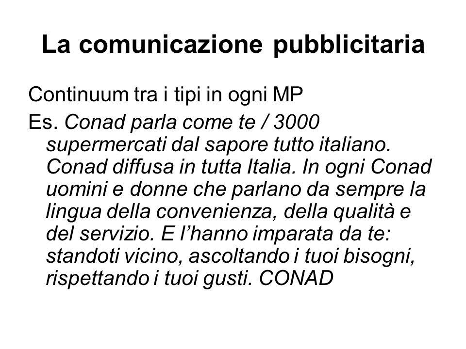 La comunicazione pubblicitaria Continuum tra i tipi in ogni MP Es. Conad parla come te / 3000 supermercati dal sapore tutto italiano. Conad diffusa in
