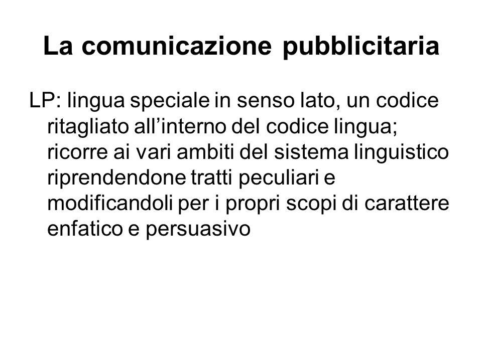 La comunicazione pubblicitaria LP: lingua speciale in senso lato, un codice ritagliato all'interno del codice lingua; ricorre ai vari ambiti del siste