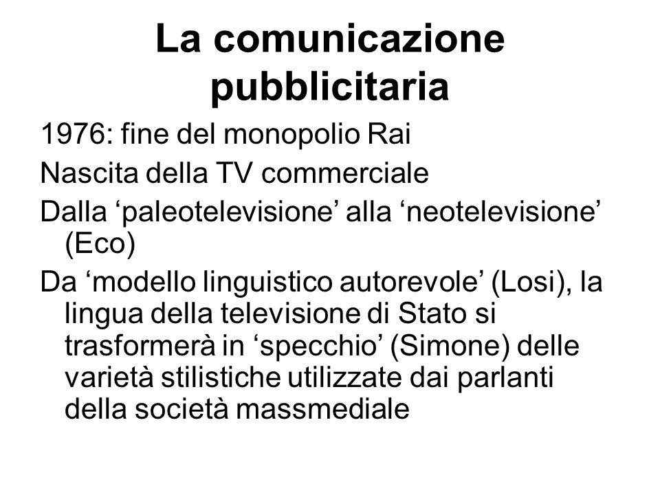La comunicazione pubblicitaria 1976: fine del monopolio Rai Nascita della TV commerciale Dalla 'paleotelevisione' alla 'neotelevisione' (Eco) Da 'mode