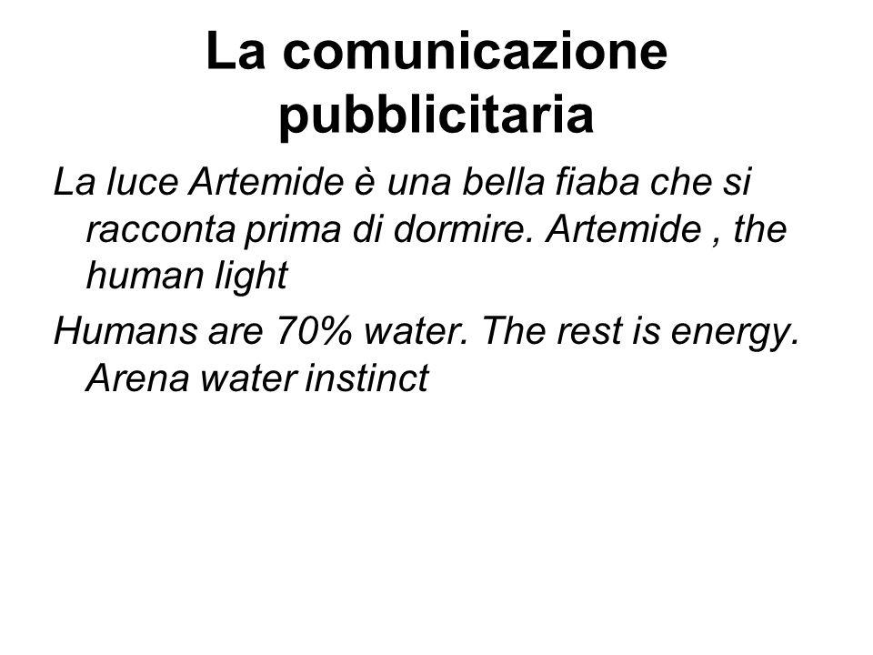 La comunicazione pubblicitaria La luce Artemide è una bella fiaba che si racconta prima di dormire. Artemide, the human light Humans are 70% water. Th