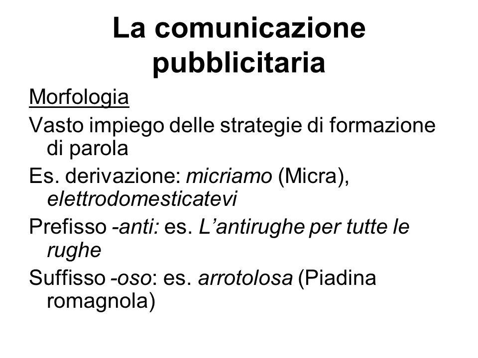 La comunicazione pubblicitaria Morfologia Vasto impiego delle strategie di formazione di parola Es. derivazione: micriamo (Micra), elettrodomesticatev