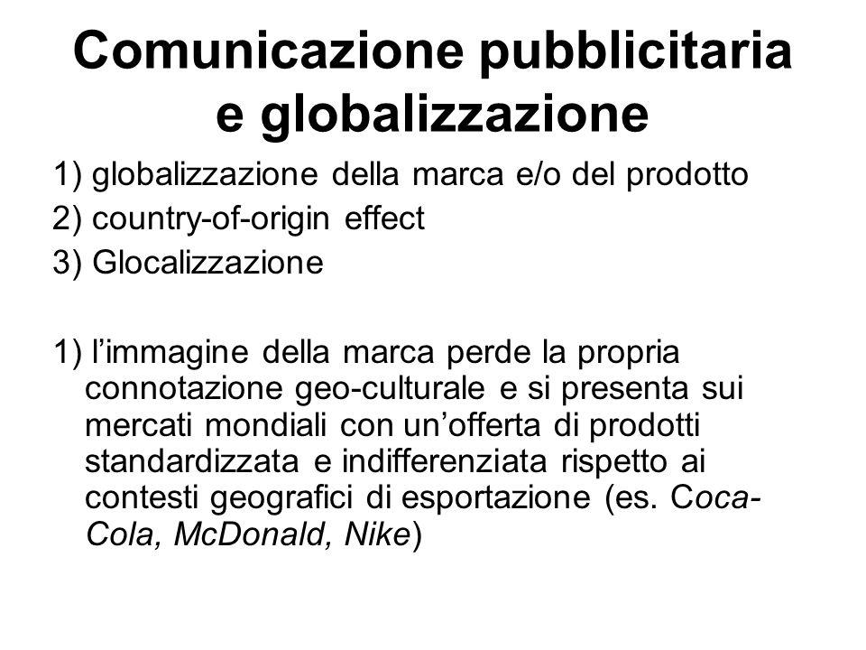 Comunicazione pubblicitaria e globalizzazione 1) globalizzazione della marca e/o del prodotto 2) country-of-origin effect 3) Glocalizzazione 1) l'imma