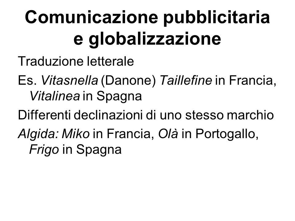 Comunicazione pubblicitaria e globalizzazione Traduzione letterale Es. Vitasnella (Danone) Taillefine in Francia, Vitalinea in Spagna Differenti decli