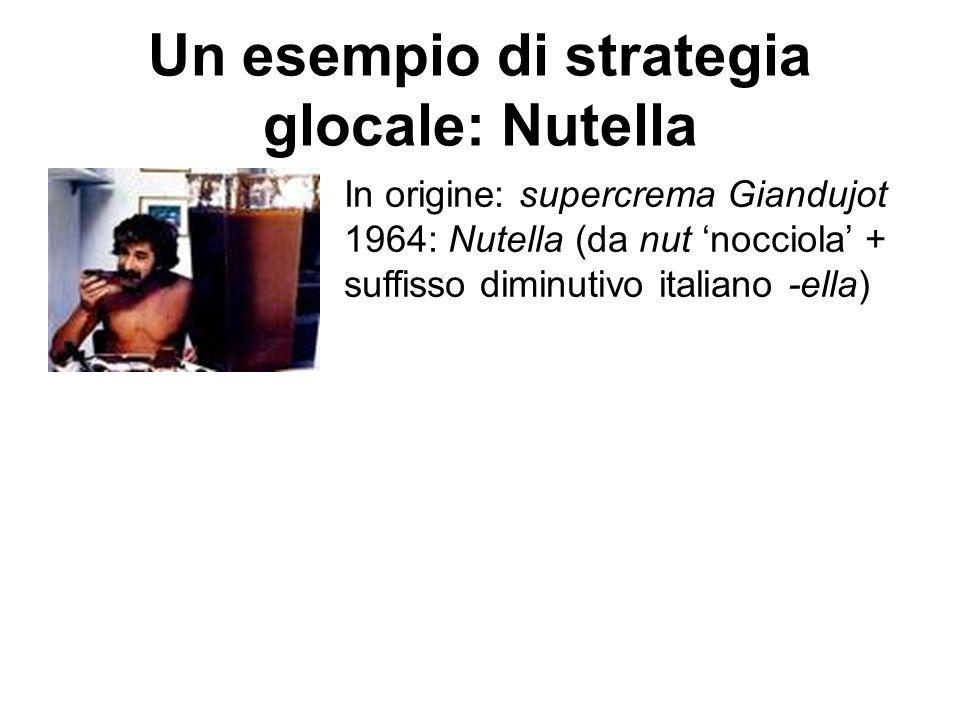 Un esempio di strategia glocale: Nutella In origine: supercrema Giandujot 1964: Nutella (da nut 'nocciola' + suffisso diminutivo italiano -ella)