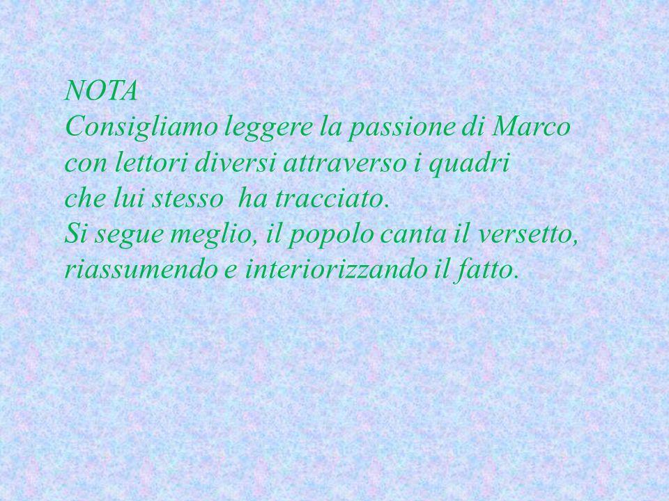 NOTA Consigliamo leggere la passione di Marco con lettori diversi attraverso i quadri che lui stesso ha tracciato.