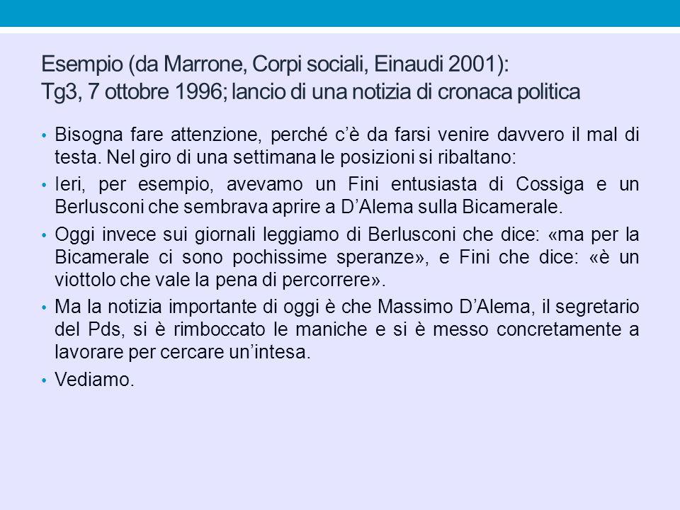 Esempio (da Marrone, Corpi sociali, Einaudi 2001): Tg3, 7 ottobre 1996; lancio di una notizia di cronaca politica Bisogna fare attenzione, perché c'è
