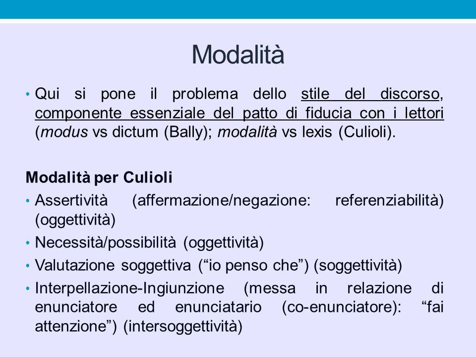 Modalità Qui si pone il problema dello stile del discorso, componente essenziale del patto di fiducia con i lettori (modus vs dictum (Bally); modalità