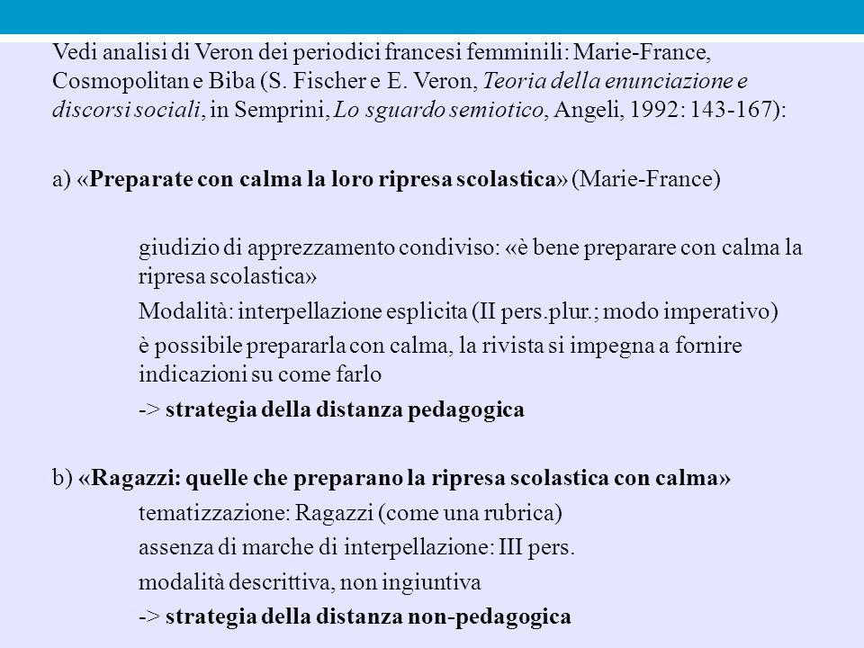 Vedi analisi di Veron dei periodici francesi femminili: Marie-France, Cosmopolitan e Biba (S. Fischer e E. Veron, Teoria della enunciazione e discorsi