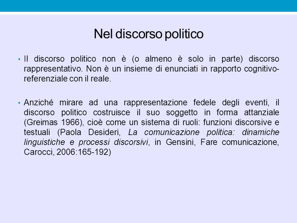 Nel discorso politico Il discorso politico non è (o almeno è solo in parte) discorso rappresentativo. Non è un insieme di enunciati in rapporto cognit
