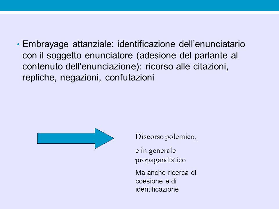 Embrayage attanziale: identificazione dell'enunciatario con il soggetto enunciatore (adesione del parlante al contenuto dell'enunciazione): ricorso al