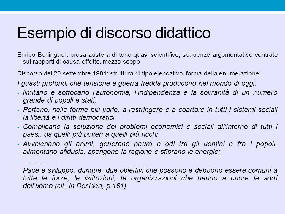 Esempio di discorso didattico Enrico Berlinguer: prosa austera di tono quasi scientifico, sequenze argomentative centrate sui rapporti di causa-effett