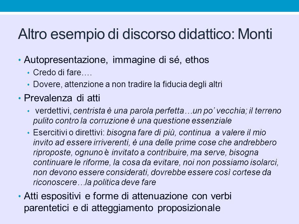 Altro esempio di discorso didattico: Monti Autopresentazione, immagine di sé, ethos Credo di fare…. Dovere, attenzione a non tradire la fiducia degli