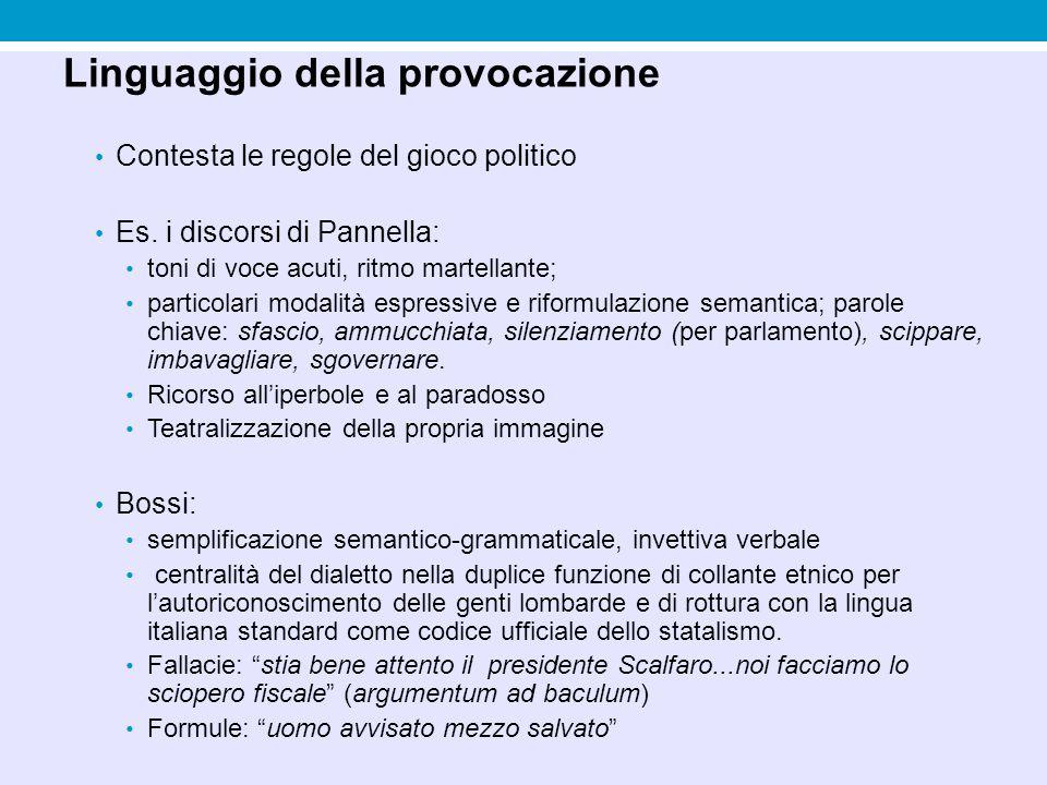 Linguaggio della provocazione Contesta le regole del gioco politico Es. i discorsi di Pannella: toni di voce acuti, ritmo martellante; particolari mod