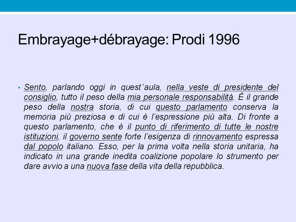 Embrayage+débrayage: Prodi 1996 Sento, parlando oggi in quest'aula, nella veste di presidente del consiglio, tutto il peso della mia personale respons