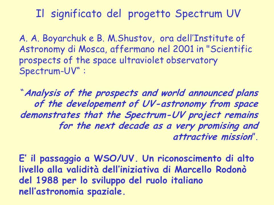 Il significato del progetto Spectrum UV A. A. Boyarchuk e B. M.Shustov, ora dell'Institute of Astronomy di Mosca, affermano nel 2001 in