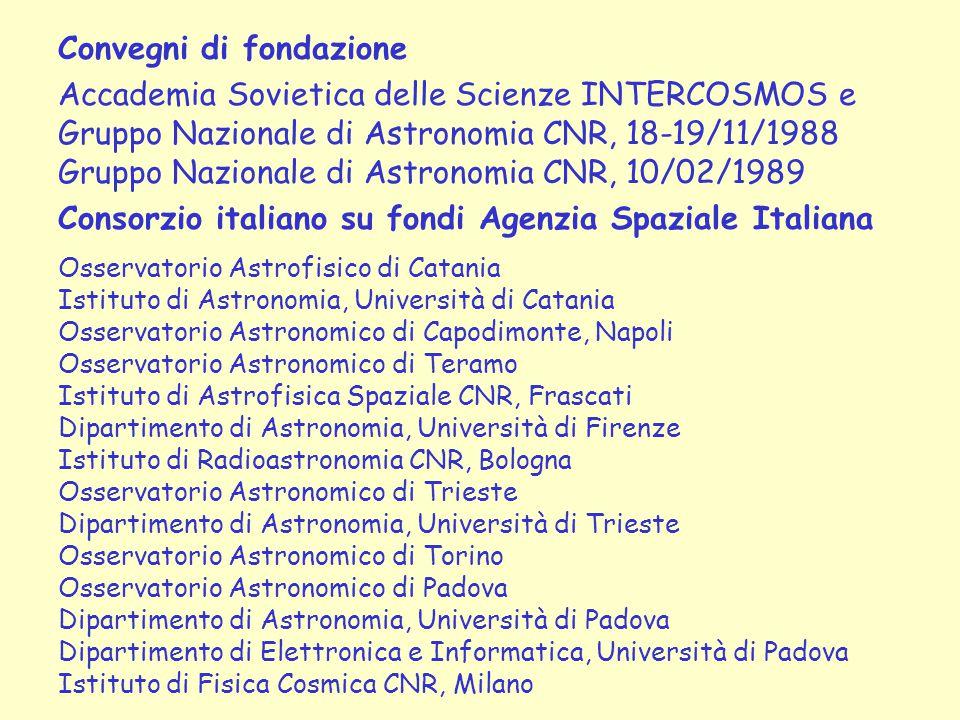 Convegni di fondazione Accademia Sovietica delle Scienze INTERCOSMOS e Gruppo Nazionale di Astronomia CNR, 18-19/11/1988 Gruppo Nazionale di Astronomi
