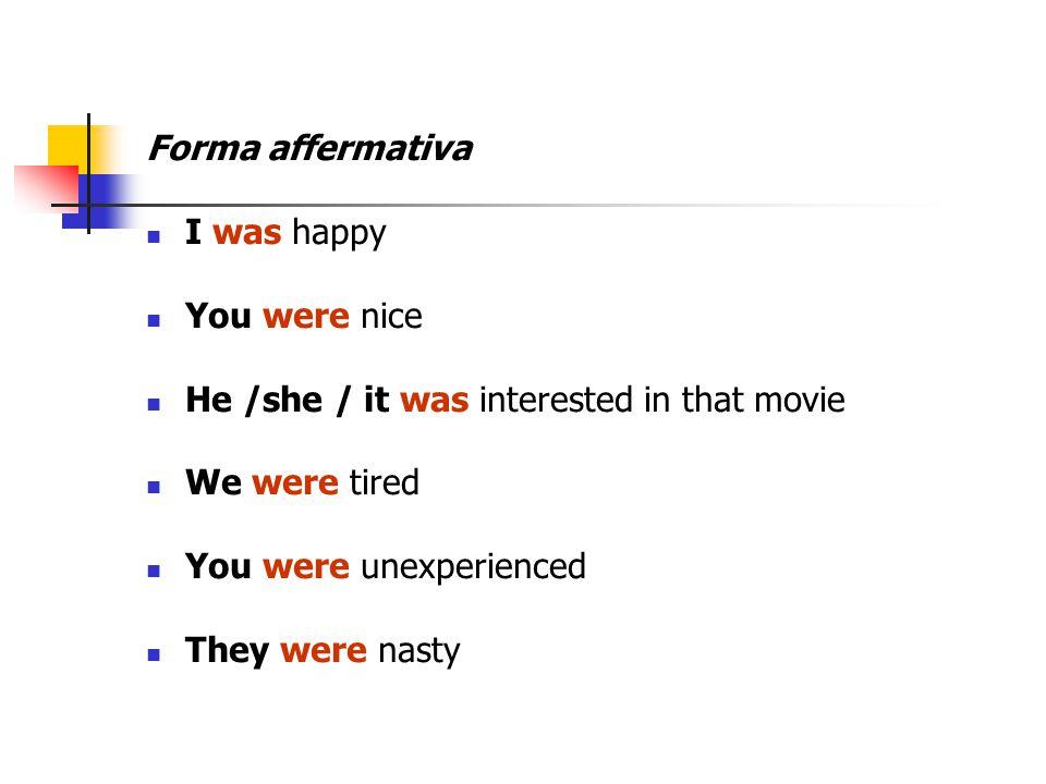 Forma Negativa I was NOT (wasn't)...You were NOT (weren't)...