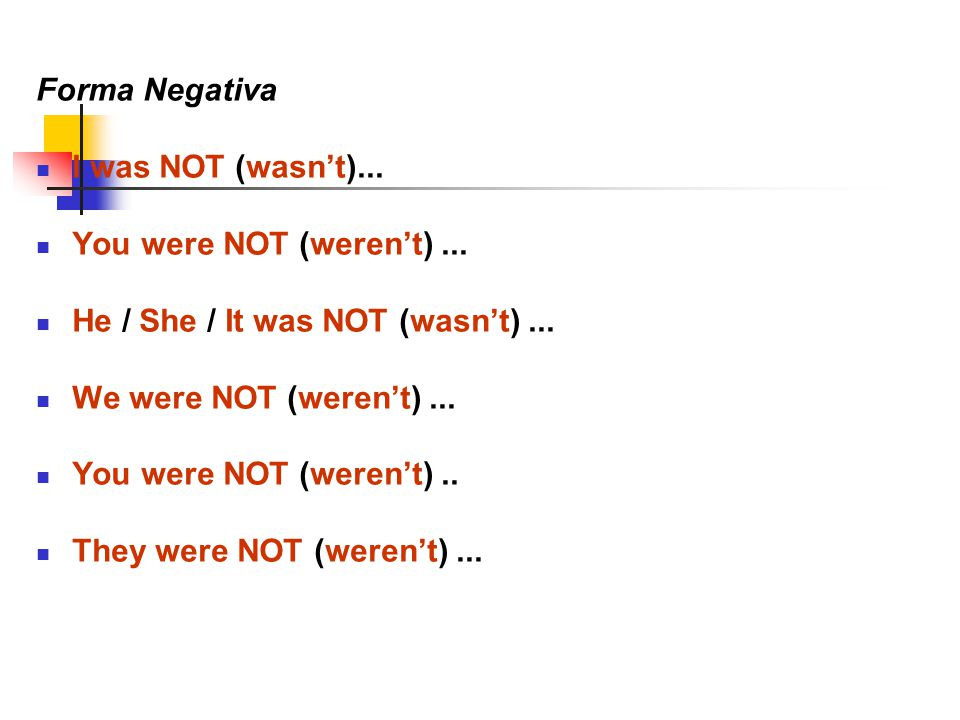 Forma Negativa I was NOT (wasn't)... You were NOT (weren't)...