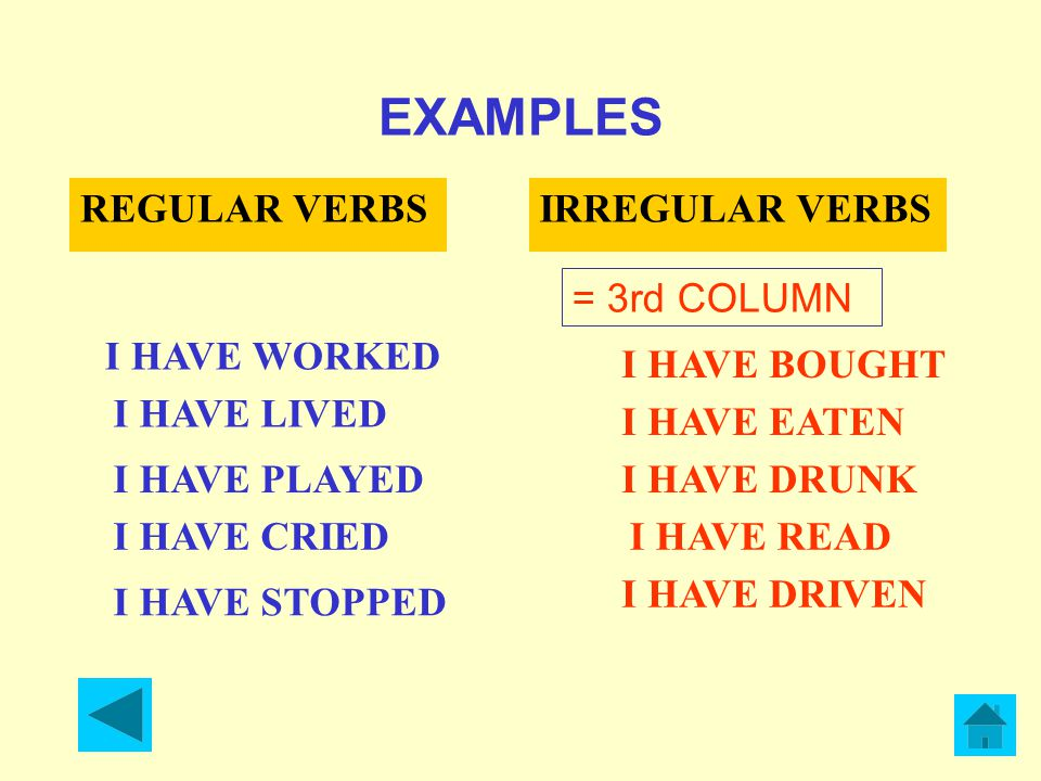 EXAMPLES REGULAR VERBSIRREGULAR VERBS I HAVE WORKED I HAVE LIVED I HAVE PLAYED I HAVE CRIED I HAVE STOPPED = 3rd COLUMN I HAVE BOUGHT I HAVE EATEN I HAVE DRUNK I HAVE READ I HAVE DRIVEN