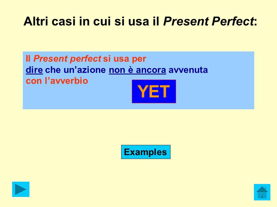 Altri casi in cui si usa il Present Perfect: Il Present perfect si usa per dire che un'azione non è ancora avvenuta con l'avverbio YET Examples