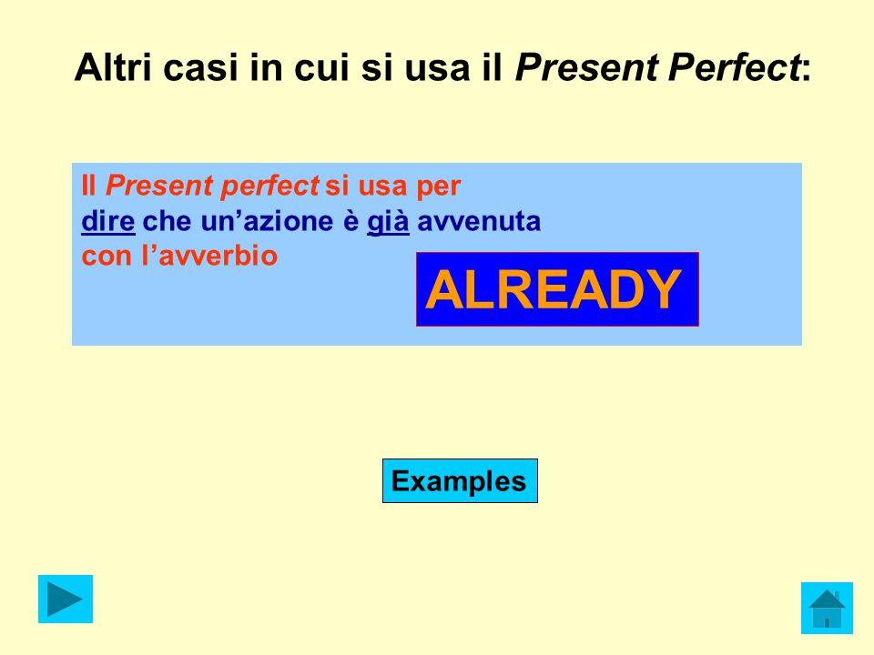 Altri casi in cui si usa il Present Perfect: Il Present perfect si usa per dire che un'azione è già avvenuta con l'avverbio ALREADY Examples