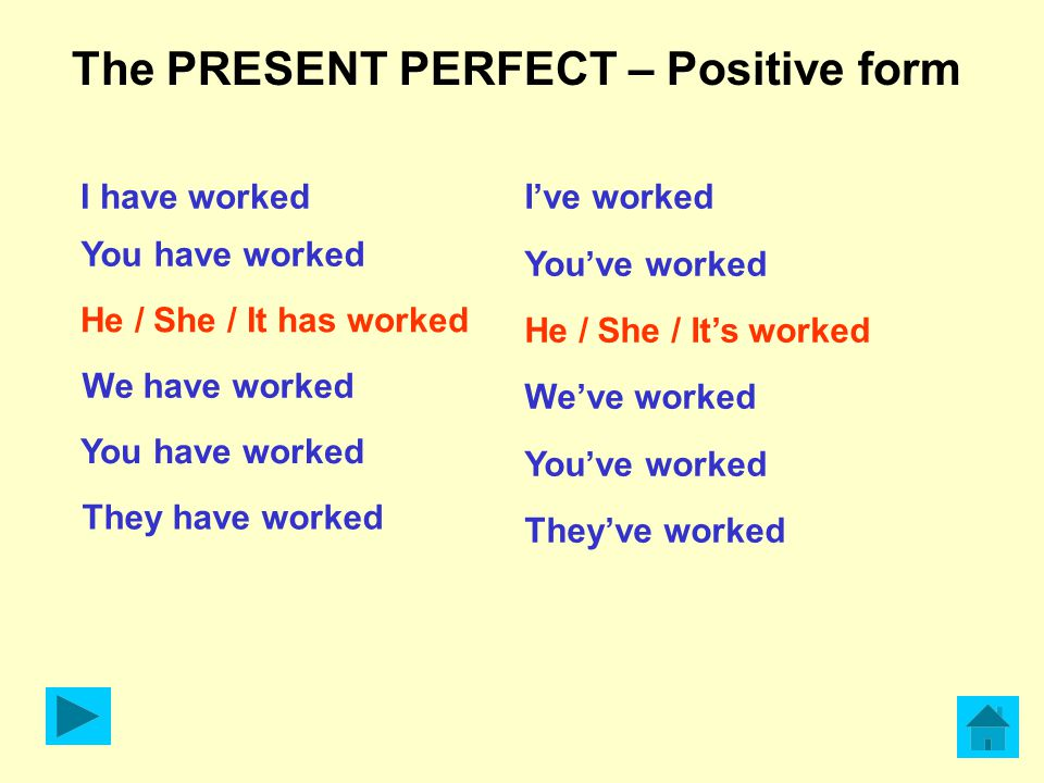 The PRESENT PERFECT – Positive form I have worked You have worked He / She / It has worked We have worked You have worked They have worked I've worked You've worked He / She / It's worked We've worked You've worked They've worked