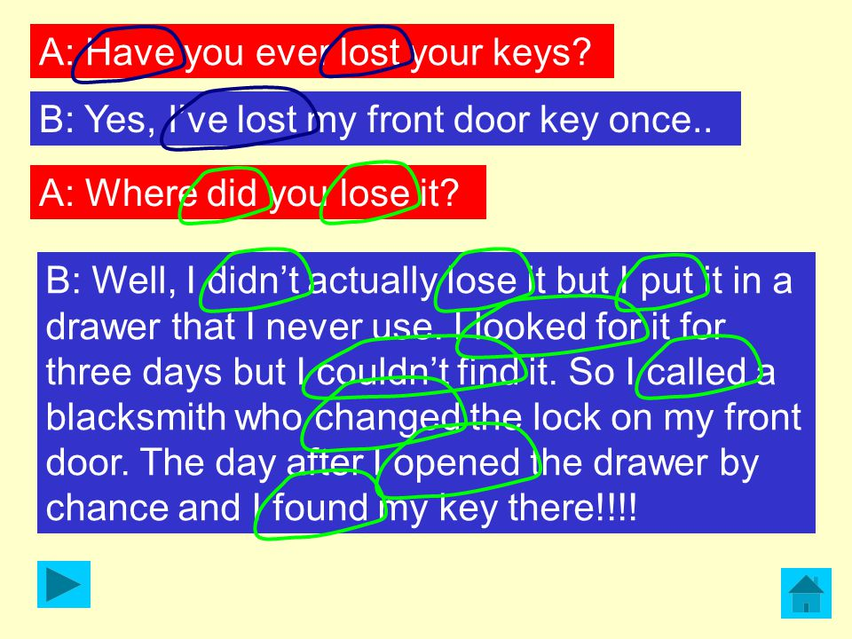 A: Have you ever lost your keys? B: Yes, I've lost my front door key once.. A: Where did you lose it? B: Well, I didn't actually lose it but I put it