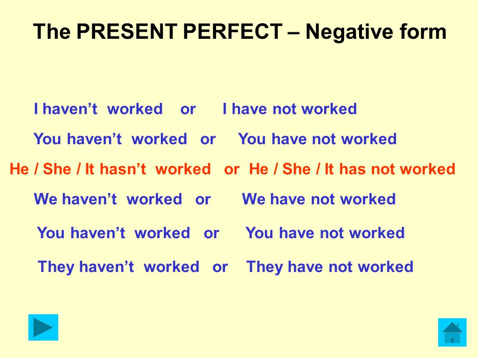 The PRESENT PERFECT – Negative form I haven't worked or I have not worked You haven't worked or You have not worked He / She / It hasn't worked or He