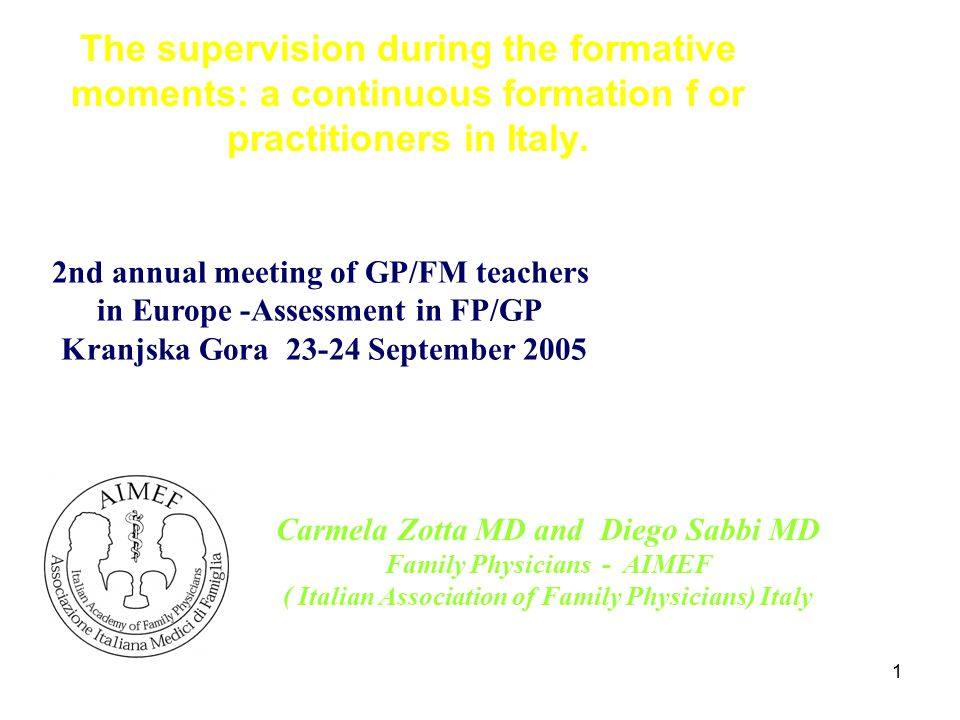 12 The supervision during the formative moments: a continuous formation for practitioners in Italy.