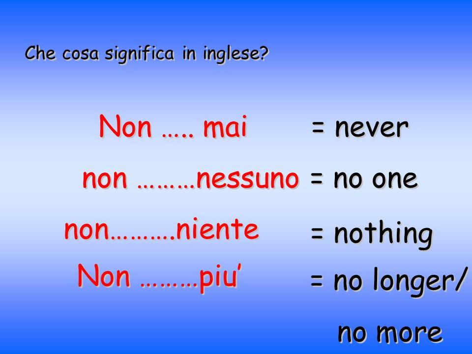 Che cosa significa in inglese? Non ….. mai = never non ………nessuno = no one non……….niente = nothing Non ………piu' = no longer/ no more = no longer/ no mo
