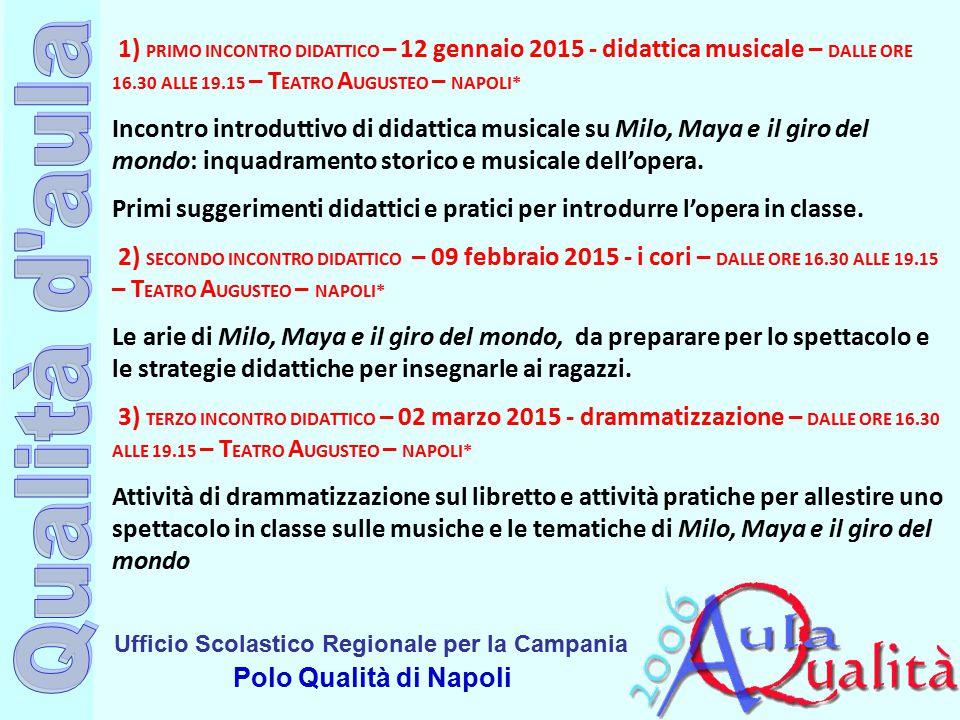 Ufficio Scolastico Regionale per la Campania Polo Qualità di Napoli 1) PRIMO INCONTRO DIDATTICO – 12 gennaio 2015 - didattica musicale – DALLE ORE 16.