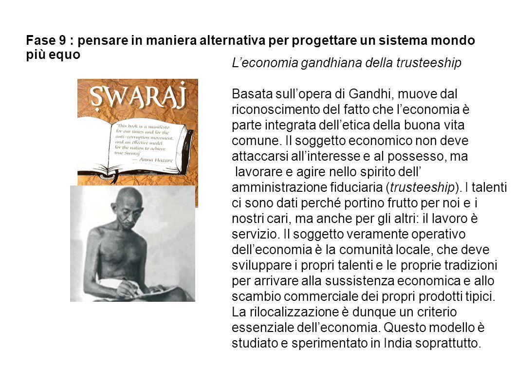 Fase 9 : pensare in maniera alternativa per progettare un sistema mondo più equo L'economia gandhiana della trusteeship Basata sull'opera di Gandhi, m