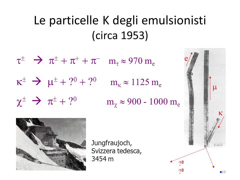 Le particelle K degli emulsionisti (circa 1953) 10    e            m   970 m e            m 