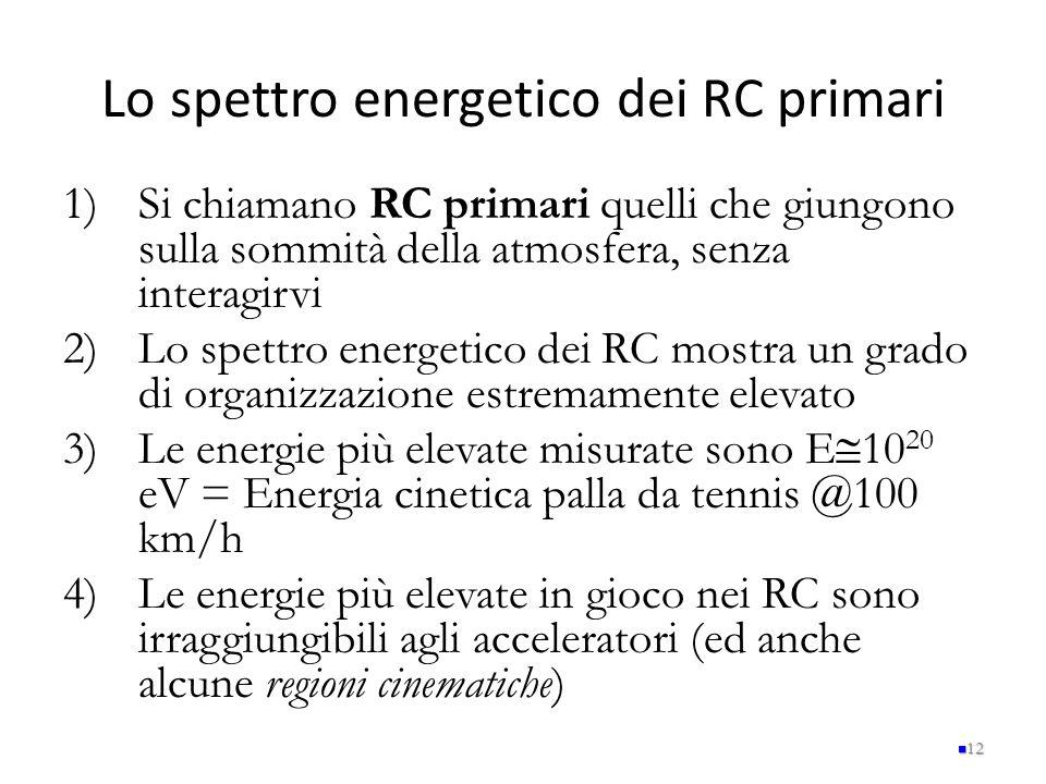 Lo spettro energetico dei RC primari 1)Si chiamano RC primari quelli che giungono sulla sommità della atmosfera, senza interagirvi 2)Lo spettro energe