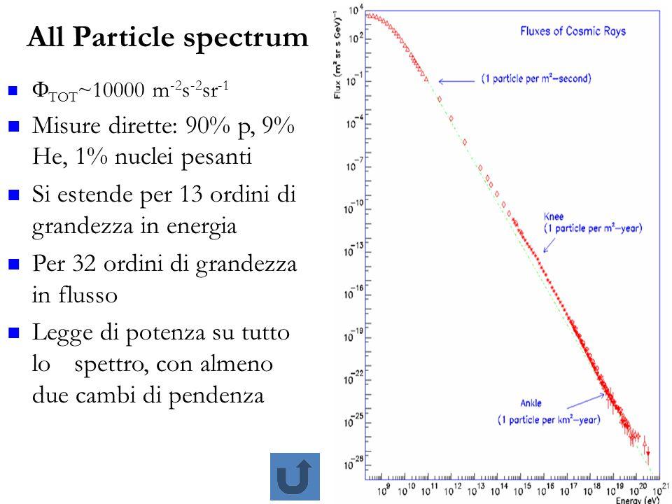 13 All Particle spectrum  TOT ~10000 m -2 s -2 sr -1 Misure dirette: 90% p, 9% He, 1% nuclei pesanti Si estende per 13 ordini di grandezza in energia