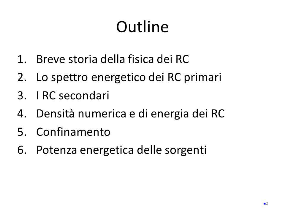 Outline 1.Breve storia della fisica dei RC 2.Lo spettro energetico dei RC primari 3.I RC secondari 4.Densità numerica e di energia dei RC 5.Confinamen