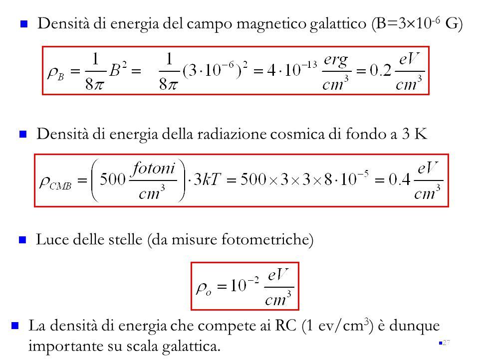 27 Densità di energia del campo magnetico galattico (B=3  10 -6 G) Densità di energia della radiazione cosmica di fondo a 3 K Luce delle stelle (da m