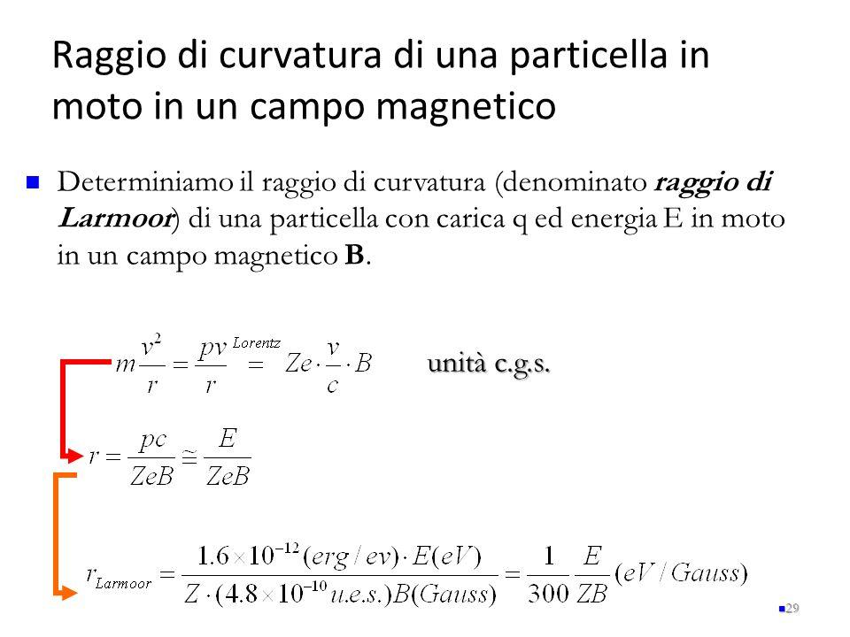 Raggio di curvatura di una particella in moto in un campo magnetico 29 Determiniamo il raggio di curvatura (denominato raggio di Larmoor) di una parti