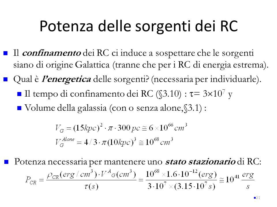 Potenza delle sorgenti dei RC 31 Il confinamento dei RC ci induce a sospettare che le sorgenti siano di origine Galattica (tranne che per i RC di ener