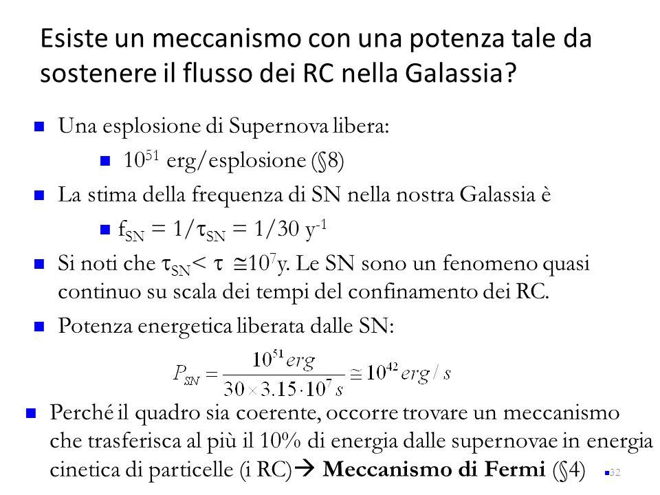Esiste un meccanismo con una potenza tale da sostenere il flusso dei RC nella Galassia? 32 Una esplosione di Supernova libera: 10 51 erg/esplosione (§