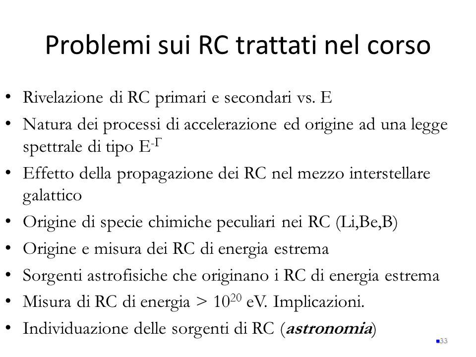 Problemi sui RC trattati nel corso Rivelazione di RC primari e secondari vs. E Natura dei processi di accelerazione ed origine ad una legge spettrale