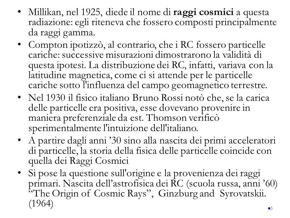 Millikan, nel 1925, diede il nome di raggi cosmici a questa radiazione: egli riteneva che fossero composti principalmente da raggi gamma. Compton ipot