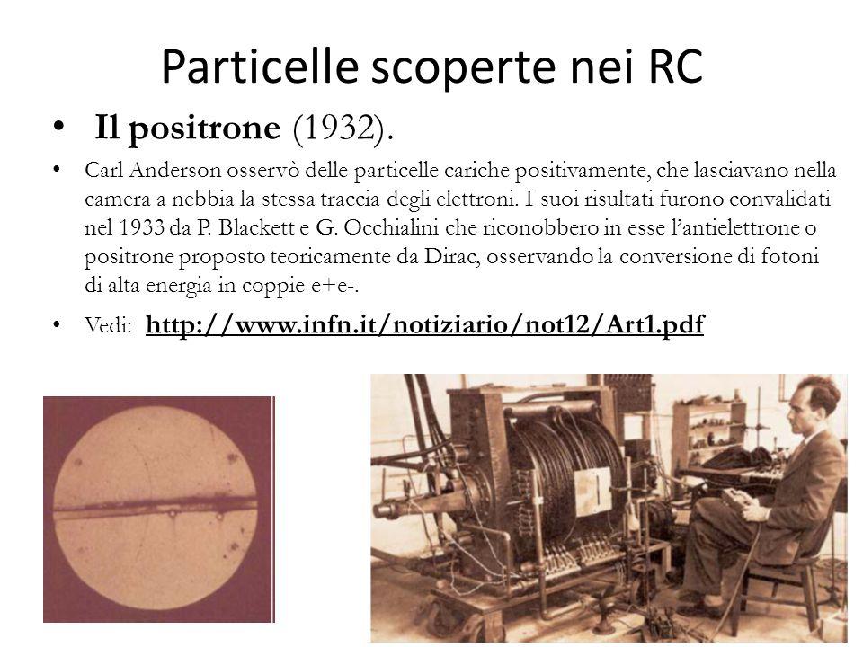 Particelle scoperte nei RC Il positrone (1932). Carl Anderson osservò delle particelle cariche positivamente, che lasciavano nella camera a nebbia la