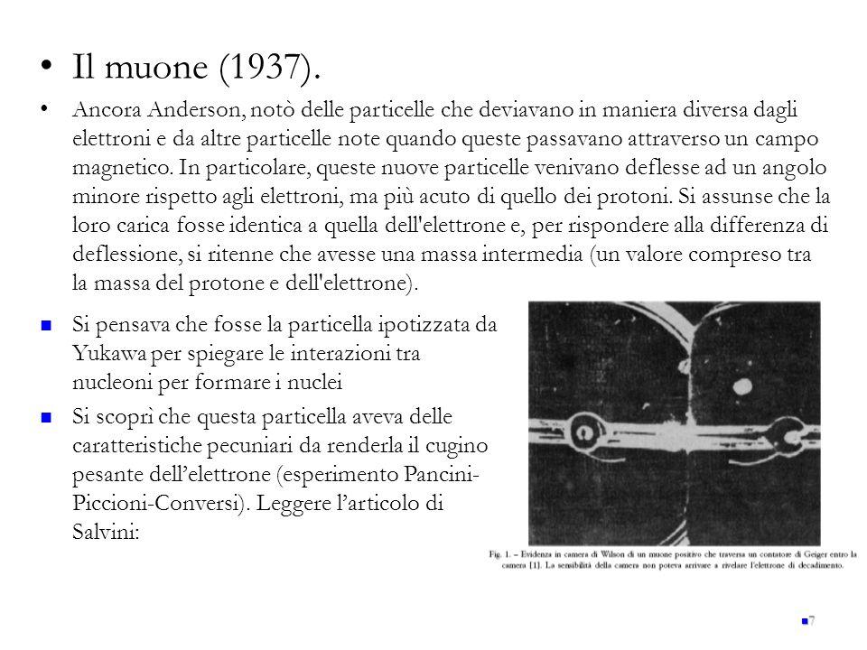 Il muone (1937). Ancora Anderson, notò delle particelle che deviavano in maniera diversa dagli elettroni e da altre particelle note quando queste pass