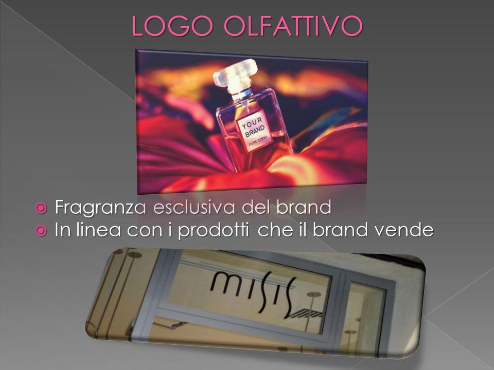 LOGO OLFATTIVO  Fragranza esclusiva del brand  In linea con i prodotti che il brand vende