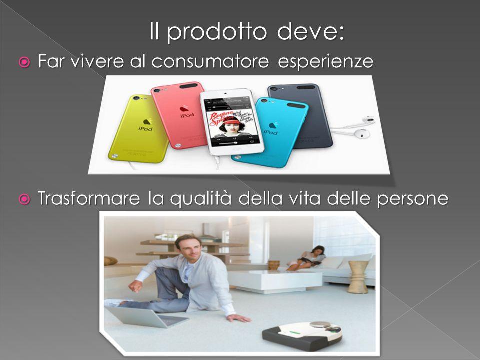 Il prodotto deve: Il prodotto deve:  Far vivere al consumatore esperienze  Trasformare la qualità della vita delle persone
