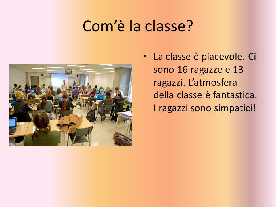 Com'è la classe? La classe è piacevole. Ci sono 16 ragazze e 13 ragazzi. L'atmosfera della classe è fantastica. I ragazzi sono simpatici!